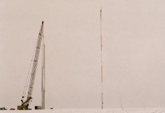 Third tower section for 1st Glenmore wind turbine in place, Jan. 1998